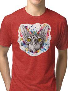 Watercolor Sphynx Cat Tri-blend T-Shirt