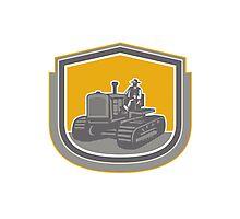 Farmer Driving Tractor Plowing Farm Shield Retro Photographic Print