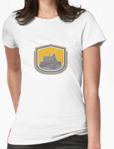 Farmer Driving Tractor Plowing Farm Shield Retro T-Shirt