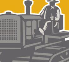 Farmer Driving Tractor Plowing Farm Shield Retro Sticker