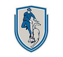 Policeman With Police Dog Canine Crest Retro Photographic Print