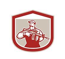 Soldier Military Serviceman Holding Assault Rifle Crest Retro by patrimonio