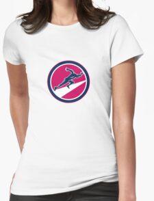 Sprinter Runner Running Woodcut Retro Womens Fitted T-Shirt