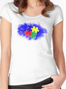Autism Awareness Puzzle Blue Women's Fitted Scoop T-Shirt
