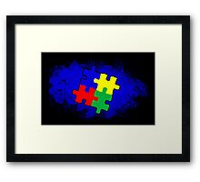 Autism Awareness Puzzle Blue Framed Print