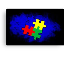 Autism Awareness Puzzle Blue Canvas Print