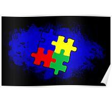 Autism Awareness Puzzle Blue Poster