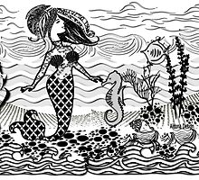Mermaid doodle art by aldona