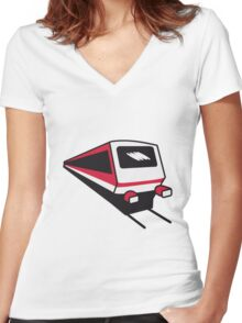 Train express train railway Women's Fitted V-Neck T-Shirt
