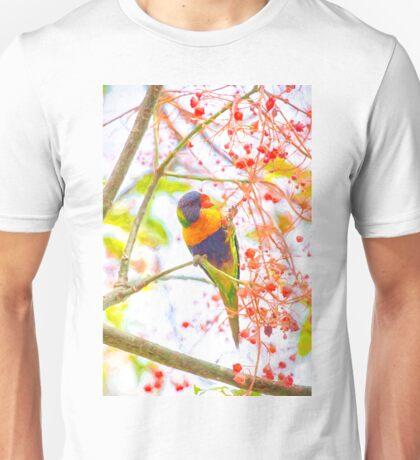 Rainbow lorikeet amongst flora Unisex T-Shirt