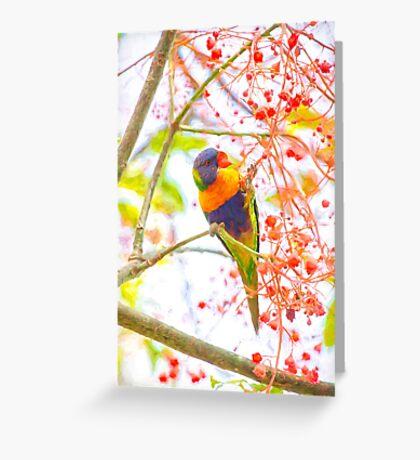 Rainbow lorikeet amongst flora Greeting Card