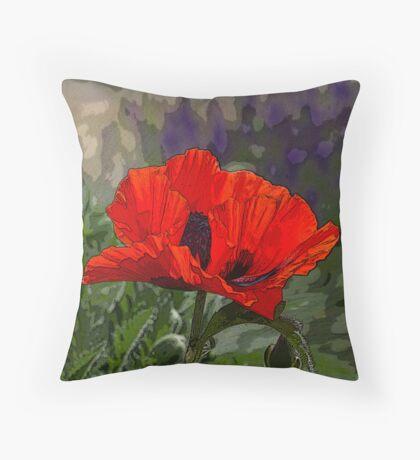 Red Orange Oriental Poppy Pillow - Artistically Enhanced Throw Pillow