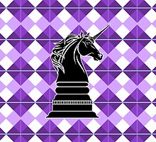 Unicorn, Checkmate Pillow by azummo
