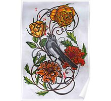 singing magpie in marigolds and roses Poster