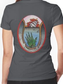 nautical tattoo; shipwreck and zombie sailor, sharks Women's Fitted V-Neck T-Shirt