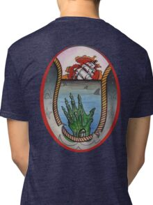 nautical tattoo; shipwreck and zombie sailor, sharks Tri-blend T-Shirt