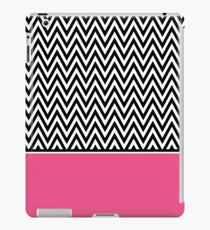 Trendy Black White Chevron with Pink Accent iPad Case/Skin
