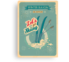 Let's go Skiing retro poster Canvas Print