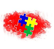 Autism Awareness Puzzle Red Photographic Print