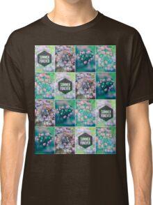 Purple Pink Hydrangea Geometric Patchwork Quilt  Classic T-Shirt