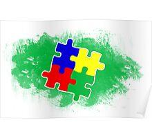 Autism Awareness Puzzle Green Poster