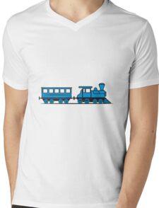 Train steam locomotive railway wagon Mens V-Neck T-Shirt