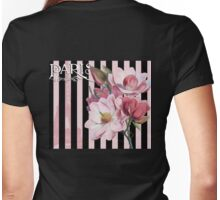 Parisian Pink Magnolias in Stripes, Eiffel Tower France Womens Fitted T-Shirt