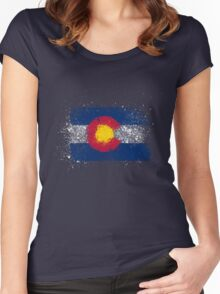 Colorado Flag Splatter Women's Fitted Scoop T-Shirt