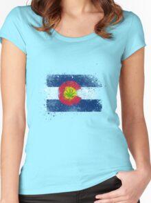 Colorado Flag Splatter w/ Cannabis Leaf Women's Fitted Scoop T-Shirt