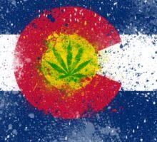 Colorado Flag Splatter w/ Cannabis Leaf Sticker