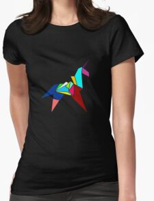 Unicorn Origami Womens Fitted T-Shirt