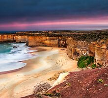 Red Sky In The Morning - On The Great Ocean Road between Peterborough and Port Campbell by Sandra Anderson