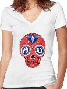 American University Sugar Skull Women's Fitted V-Neck T-Shirt