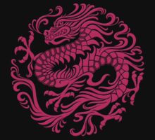 Traditional Pink Chinese Dragon Circle by Jeff Bartels