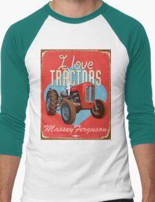 TractorsTinSigns_MasseyFerguson Men's Baseball ¾ T-Shirt