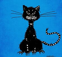 Blue Grunge Ragged Evil Black Cat by Boriana Giormova