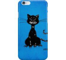 Blue Grunge Ragged Evil Black Cat iPhone Case/Skin