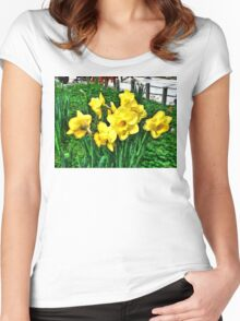 Shy Daffodils  Women's Fitted Scoop T-Shirt