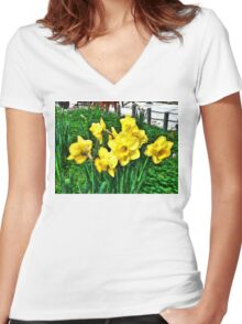 Shy Daffodils  Women's Fitted V-Neck T-Shirt