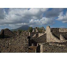 Vesuvius, Towering Over the Pompeii Ruins Photographic Print
