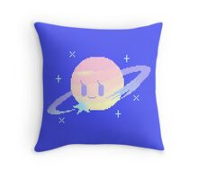 Pixel Planet - Happy Gas Giant and Comet Friend Throw Pillow