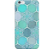 Frozen Mint Honeycomb - Doodle Hexagon Pattern iPhone Case/Skin