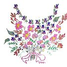 Sweet peas, violets and flowers bouquet. by Mary Taylor