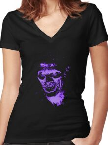 Evil Ash Two Tone Women's Fitted V-Neck T-Shirt