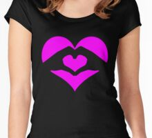 Hands Forming Love Heart  Women's Fitted Scoop T-Shirt