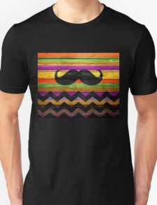 Mustache Chevron Stripes Wood T-Shirt