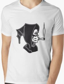 Death hooded kiffen joint Mens V-Neck T-Shirt