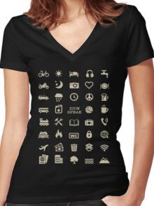 Cool Traveller T-shirt - Iconspeak T-shirt - 40 Travel Icons Women's Fitted V-Neck T-Shirt