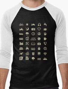 Cool Traveller T-shirt - Iconspeak T-shirt - 40 Travel Icons Men's Baseball ¾ T-Shirt