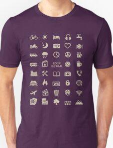 Cool Traveller T-shirt - Iconspeak T-shirt - 40 Travel Icons Unisex T-Shirt